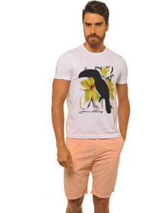 Camiseta Masculina Joss Premium New Toucan Flowers Yellow Branco