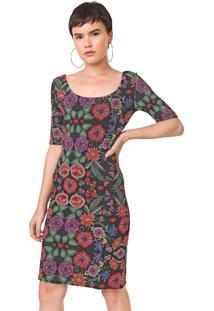 Vestido Desigual Curto Garden Preto/Vermelho - Preto - Feminino - Poliã©Ster - Dafiti