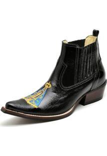 Bota Top Franca Shoes Country Bico Fino Verniz Masculino - Masculino-Preto
