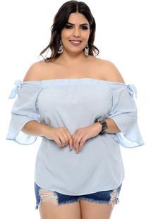 Blusa Art Final Plus Size Plimetis Azul Claro