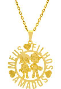 Gargantilha Horus Import Meus Filhos Amados 2 Banhada Ouro Amarelo 18 K 1060182