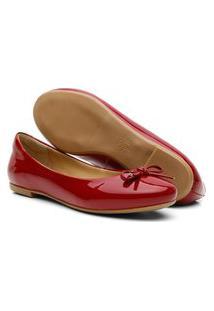 Sapatilha Feminina Couro Verniz Bico Redondo Laço Conforto Vermelho