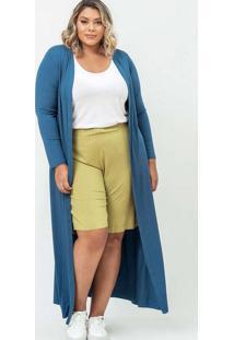 Cardigan Almaria Plus Size Garage Longo Liso Azul