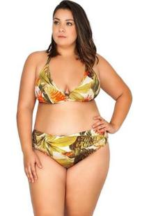 Calcinha Plus Size Detalhe V Estampada Agridoce Feminina - Feminino