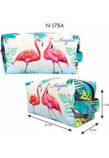 Necessaire Feminina Praia Flamingos, Magicc