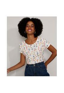 Camiseta Feminina Estampada De Coqueiros Manga Curta Decote Redondo Off White
