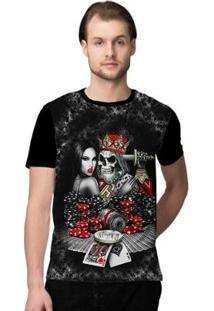 Camiseta Stompy Poker Masculino - Masculino-Preto+Vermelho