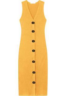 Vestido Mídi Com Botões Amarelo Caramelo - Lez A Lez