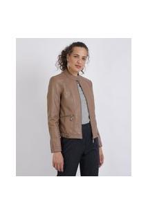 Jaqueta Feminina Com Bolsos Caramelo