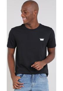 "Camiseta Masculina ""King"" Manga Curta Gola Careca Preta"
