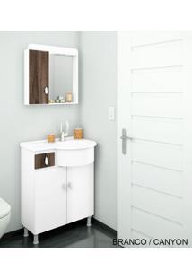 Gabinete Para Banheiro Kit Ks - Balcão + Espelheira + Marmorite - Branco Com Castaine