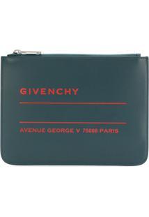Givenchy Bolsa Clutch De Couro Com Logo - Azul