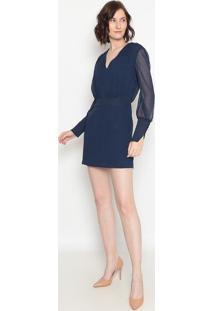 Vestido Com Zíper- Azul Marinho- Aboutabout