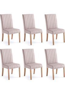 Conjunto Com 6 Cadeiras De Jantar Bali I Cinza E Castanho