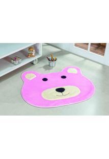 Tapete Antiderrapante Formato Urso Rosa 0,74 X 0,64 Guga Tapetes