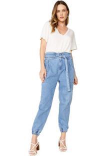 Calça Jeans Slim Cós Elástico E Fivela