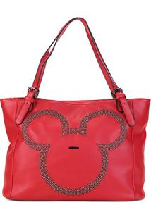 Bolsa Sacola Gash Shopper Aplique Rebites Mickey Feminina - Feminino-Vermelho
