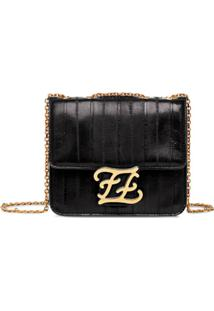 Fendi Karligraphy Shoulder Bag - Preto