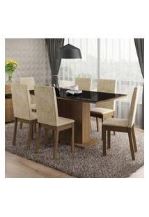 Conjunto Sala De Jantar Romênia Madesa Mesa Tampo De Vidro Com 6 Cadeiras Rustic/Imperial