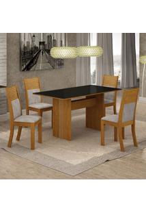 Conjunto De Mesa De Jantar Florença Iii Com 4 Cadeiras Havaí Suede Preto E Cinza