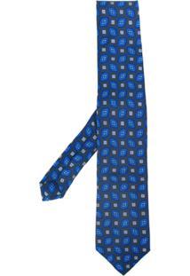 Etro Gravata Com Padronagem E Bordado - Azul