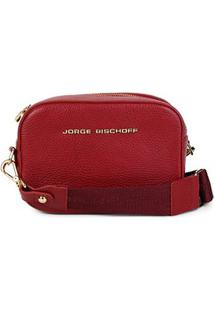 Bolsa Couro Jorge Bischoff Mini Bag Floater Feminina - Feminino-Vermelho