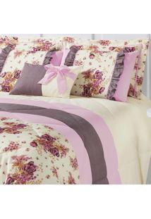 Kit Edredom Vitoria King Palha E Rosa Com Porta Travesseiro Floral Com 7 Peças - Aquarela