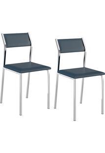 Kit Com 2 Cadeiras Sofia Cromada Napa Azul Noturno - Carraro