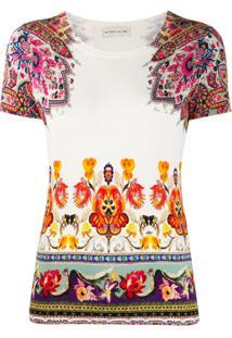 Etro Blusa De Tricô Com Estampa Floral - Branco