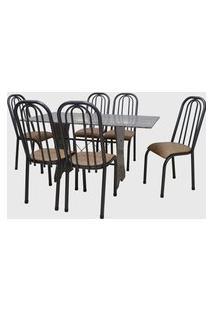 Conjunto Cozinha Barcelona Mesa 150Cm Granito C/ 06 Cadeiras Roma Alta Craquelado Ankara Açomix