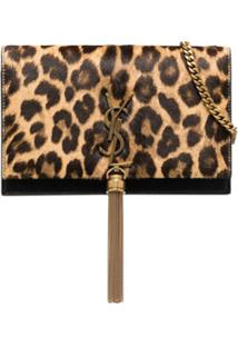 Saint Laurent Bolsa Clutch Kate De Couro Com Estampa De Leopardo - Preto