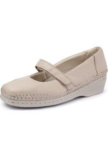 Sapato Conforto Pizaflex Boneca Feminino - Feminino-Bege