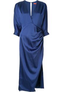 Manning Cartell Vestido Midi De Cetim - Azul