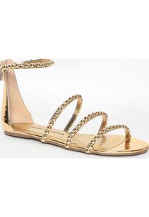 Sandália Rasteira Metalizada Com Zíper- Dourada- Mormorena Rosa