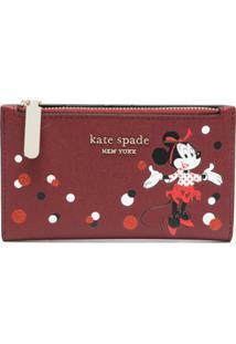 Kate Spade Carteira Com Placa De Logo E Estampa Minnie Mouse - Vermelho