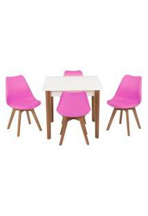Conjunto Mesa De Jantar Luiza 80Cm Branca Com 4 Cadeiras Leda - Rosa