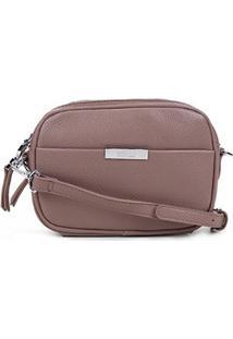 Bolsa Santa Lolla Mini Bag Transversal Divisória Feminina - Feminino-Bege