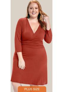 Vestido Plus Size Decote Ranspasse Laranja