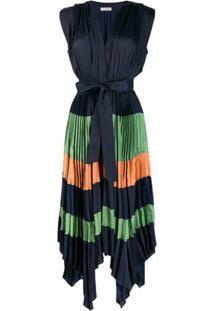 Ulla Johnson Vestido Color Block Com Pregas - Azul