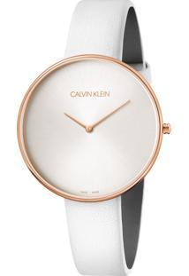Relógio Calvin Klein Feminino Couro Branco - K8Y236L6