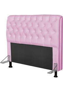 Cabeceira Paris Para Cama Box Casal 140 Cm Paris Corino Rosa- Js Móveis