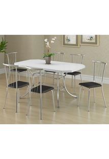 Mesa 1507 Branca Cromada Com 6 Cadeiras 154 Preta Carraro