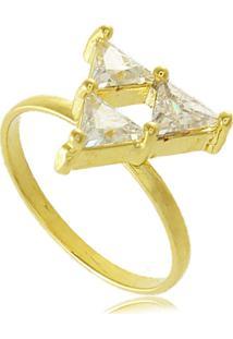 Anel De Falange Triângulos Em Zircônias 3Rs Semijoias Dourado