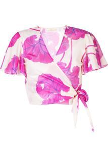 Dvf Diane Von Furstenberg Blusa Transpassada Floral - Neutro