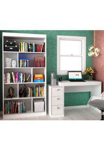 Conjunto Home Office Com Escrivaninha E Estante Para Livros Móveis Branco Tx/Branco Tx