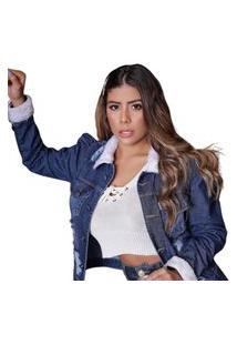 Jaqueta Jeans Detalhes Punhos E Gola Rc Azul