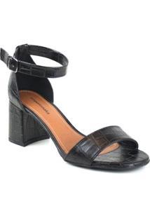 Sandália Emporionaka Croco Texas Feminina - Feminino-Preto
