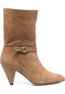 Tila March Ankle Boot Greco De Camurça - Marrom