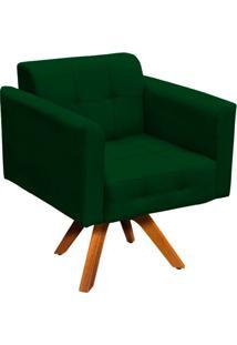 Poltrona Decorativa Giratória Gran Elisa Base Madeira Suede Verde - D'Rossi