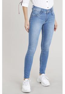 Calça Jeans Feminina Sawary Skinny Azul Claro